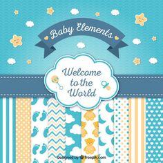 Bonita tarjeta de bienvenida de bebé con simpáticos elementos  Vector Gratis