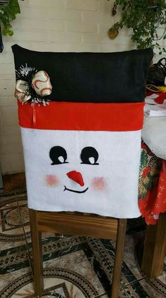 Great idea except use Jack Skellington face instead Christmas Design, Christmas Snowman, White Christmas, Christmas Home, Handmade Christmas, Christmas Chair Covers, Christmas Crafts, Christmas Decorations, Christmas Traditions