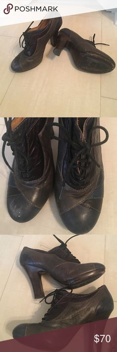 Frye Matilda oxford heels Frye Matilda oxford heels. Worn quite a bit. They have scuff marks and flaws. In decent shape. Frye Shoes Heels