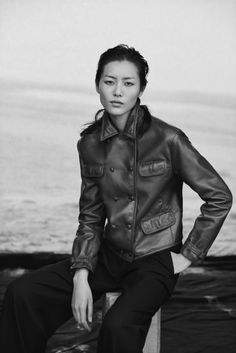 Liu Wen poses in a leather jacket for Giorgio Armani's New Normal campaign