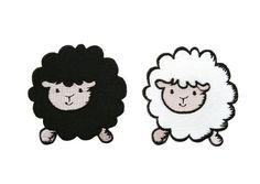White / Black Sheep Cartoon Applique Embroidered Iron by EriztShop