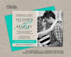 DIY Printable Rustic Turquoise Wedding Invitations by iDesignStationery