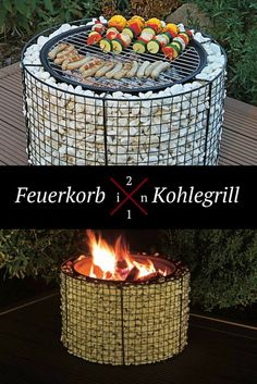 Feuerkorb - Practical and warming at the same time – with this fire basket yo. - Feuerkorb – Practical and warming at the same time – with this fire basket you can look forwar - Fire Pit Grill, Diy Fire Pit, Fire Pit Backyard, Fire Basket, Gabion Wall, Diy Terrasse, Diy Patio, Patio Gas, Diy Garden Decor