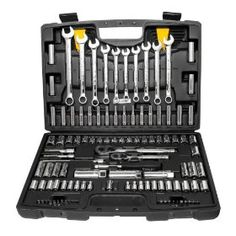 Stanley 94-374 123-Piece Socket and Wrench Set, (tool set, tool kit, tools, home repair, good value, hand tools, gift idea, socket set, 115-piece tool kit, tool sets)