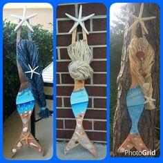 YOUR CUSTOM ORDER - Shades of Blue Beach Scene Mermaid, Home Decor, Beach House Decor, Ocean Inspired
