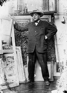 The painter Georges Braque in Picasso's atelier (11 Bld. de Clichy), 1909 -by Pablo Picasso