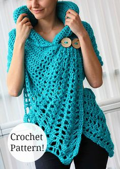 Love this gorgeous crochet wrap! Make it now ready for Spring. #crochet #pattern #easy #wrap #fashion #women #ad