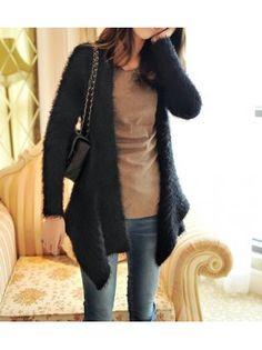Long Sleeve Knit Wool Long Cardigan