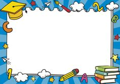 Certificate Border, Certificate Design Template, Orla Infantil, School Border, Powerpoint Background Design, Page Borders Design, Border Design, School Frame, School Labels