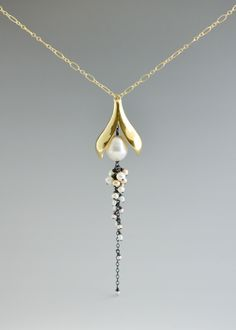 Split Pod Necklace: Catherine Grisez: Gold, Silver, & Pearl Necklace | Artful Home