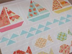 Pretty Little Quilts: Summer Beach Quilt Tutorial - Part IV - Sailboat Block Sailboat Baby Quilt, Nautical Baby Quilt, Beach Quilt, Ocean Quilt, Quilting Tutorials, Quilting Projects, Quilting Ideas, Sewing Projects, Quilting Quotes