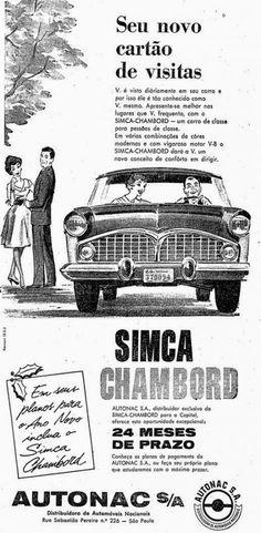 """Propaganda do Simca Chambord veiculado nos anos 50. """"Um carro de classe para pessoas de classe"""". Propaganda do famoso Simca Chambord veiculado em 9 de dezembro de 1959 no jornal 'O Estado de São Paulo'."""
