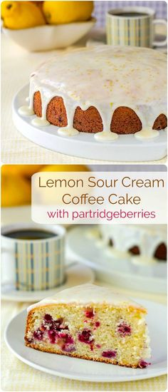 Lemon Sour Cream Coffee Cake with Partridgeberries – a good basic sour cream coffee cake recipe to which you can add berries and citrus zest for different flavour combinations.