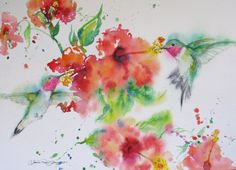 hummingbird original watercolor painting by JaniceTraneJones, $89.00