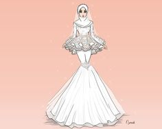 Thank you for invite mira kak This is specially made for you. Happy for you Semoga kaknis & abg irshad happy till jannah! Muslim Fashion, Modest Fashion, Hijab Fashion, Fashion Art, Love Fashion, Fashion Drawing Dresses, Fashion Illustration Dresses, Fashion Design Drawings, Fashion Sketches