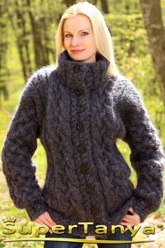 Made to order hand knitted mohair cardigan in gray graphite, fuzzy cable knit jacket by SuperTanya
