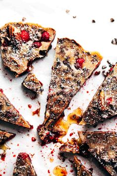 Chocolate Raspberry Almond Butter Bars - ready in just 30 minutes, made with a few pantry staples and no refined sugar! Totally adaptable to whatever berries you have in your freezer.