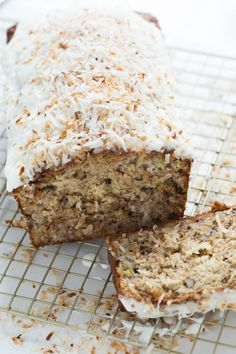Banana Coconut Crunch Bread with Coconut Cream Icing is a simple quick bread that will add flavor to any morning! Made with shredded coconut, ripe bananas and walnuts!