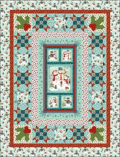 Fabric collection: Frosty n' Fun by @Marcus Hallenberg Fabrics Get the free quilt pattern here: http://www.allpeoplequilt.com/techniques/piecing/creative-panel-quilts_ss7.html