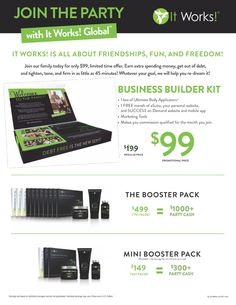 With your It Works Distributor business builder kit you will get:   - 1 box of Ultimate Body Applicators also known as It Works Body Wraps   - 1 FREE month of eSuite, FITworks, and your personal website   - Makes you commission qualified for the month you join   - 100$ Fast Start Bonuses*   - Earn 120$ product credit*   - Marketing Tools   -SUCCESS on Demand   The journey to FREEDOM--achieving your dreams--begins with one, simple step.
