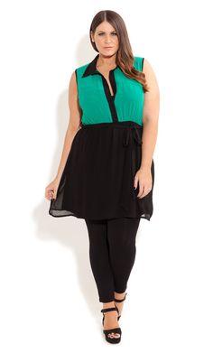 City Chic - CONTRAST SURPRISE BACK TUNIC - Women's plus size fashion