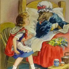 Little Red Riding Hood - Artist E.V. Abbott - original watercolor illustration.