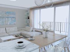 Modrá ako vítané osvieženie - Kristína Bedečová Living Room Kitchen, Table, Furniture, Design, Home Decor, Decoration Home, Room Decor, Kitchen Living