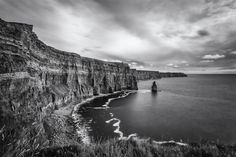 Long exposure of the famous The Cliffs of Moher, Clare, Ireland Love Ireland, Irish Landscape, Cliffs Of Moher, Different Perspectives, Turquoise Water, Pigment Ink, Beautiful Places, Black And White, Wall Art