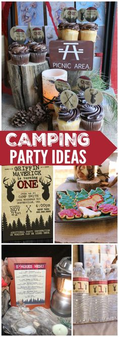 This camping birthday party has a yummy s'mores bar! See more party ideas at CatchMyParty.com!
