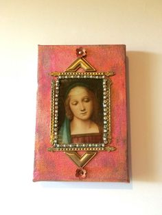 Collage of the Virgin Mary on canvas  catholic art by DianaDDarden