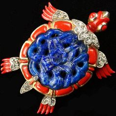 Trifari 'Alfred Philippe' Lapis Belly Ming Turtle Pin Clip 1942