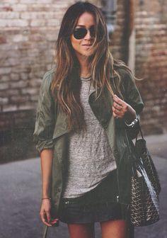 grey tee & green jacket