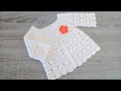 Crochet Baby Sweaters, Crochet Baby Cardigan, Crochet Collar, Baby Girl Crochet, Crochet Baby Clothes, Crochet For Kids, Baby Knitting, Knit Crochet, Crochet Hats