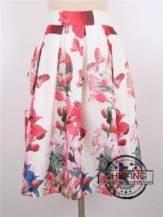 CHICING 2016 Summer Women Skirt Vintage Peach Blossom Floral Print High Waist Ball Gown Pleated Midi Skater Skirts Saias A148012