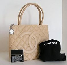 3f87acabfb228f Chanel Cc Medallion Quilted Hand Beige Leather Vintage Brown Tote ...