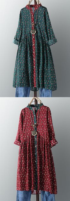 off】Vintage Women Cotton Floral Print Stand Collar Pleated Dress Couture Mode, Couture Fashion, Boho Fashion, Suits For Women, Clothes For Women, Bohemian Mode, Winter Outfits Women, Shabby, Clothing Websites