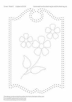 This pretty paper pricking pattern is stitched on a white card following a pattern. Description from opattern.info. I searched for this on bing.com/images