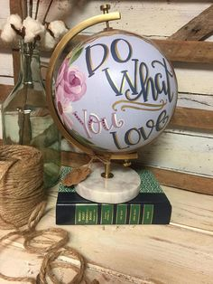 World Globe // Decorative World Globe // Hand Painted Florals // Hand Lettered Painted Letters, Hand Painted, Home Decor Shelves, Globe Art, Love Home, Project Ideas, Projects, Craft Ideas, Grad Parties