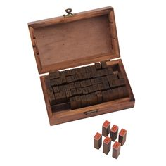 Consists of 70 rubber stamps in the box, including 26 letters in both upper case & lower case, number 0-9, and 8 special symbols - versatile enough to design and have fun. (52 10 8). Material: wooden and rubber. | eBay! 26 Letters, Letters And Numbers, Number 0, Special Symbols, Lowercase A, Wooden Boxes, Fashion Prints, Letterpress, Alphabet