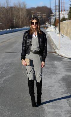 Grey Midi Dress and Black Bomber Jacket
