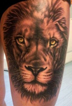 My thigh bitcheees! Lion tattoo# by max.inkspot