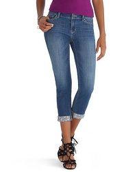 Saint Honore Embellished Cuff Slim Ankle Jean  #whbm
