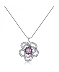Ouruora Big Pink Flower Charm Pendant Necklace