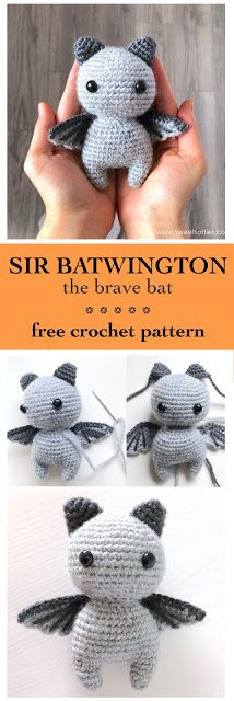 Sir Batwington the Bat (Free Amigurumi Crochet Pattern) Sir Battington die tapfere Fledermaus … kostenlose Häkelanleitung Crochet Easter, Crochet Bat, Crochet Pattern Free, Crochet Mignon, Crochet Penguin, Crochet Gratis, Crochet Animal Patterns, Stuffed Animal Patterns, Cute Crochet
