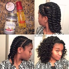 Got tired of my wash and go so I had to switch it up lol. One braid in the front, 5 twists in the back ➰ #TutorialTuesday #KharissaRae  Edit: the round thing is Dr. Miracles edge holding gel