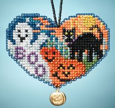 "Love Halloween (2013); Mill Hill; Charmed Ornament Kits; I LOVE; Beads, charms, perforated paper, needles, floss, chart and instructions. Use as ornament with beaded hanger (included)  6 designs in display MH163100; 2.75"" x 2"""