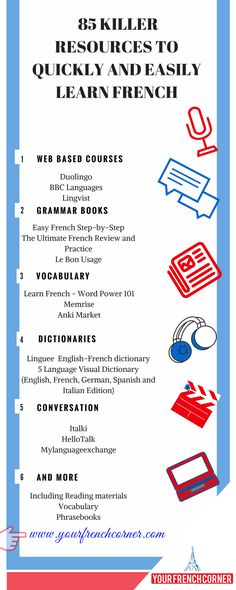 FREE downloadable pdf listing 85 killer resources to quickly and easily learn French. #fle #learningfrench