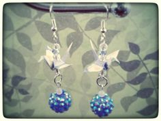 Origami Crane earrings by Fmoon Origami Jewelry   on Etsy, $19.99