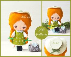 Anne of Green Gables PDF pattern. by Noialand on Etsy Felt Patterns, Pdf Sewing Patterns, Corpse Bride Doll, Primitive Doll Patterns, Softie Pattern, Felt Ornaments, Halloween Ornaments, Felt Fabric, Tooth Fairy