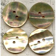 4 Vintage Abalone Shell Sewing Buttons 7/8 inch 23mm Rainbow Iridescence